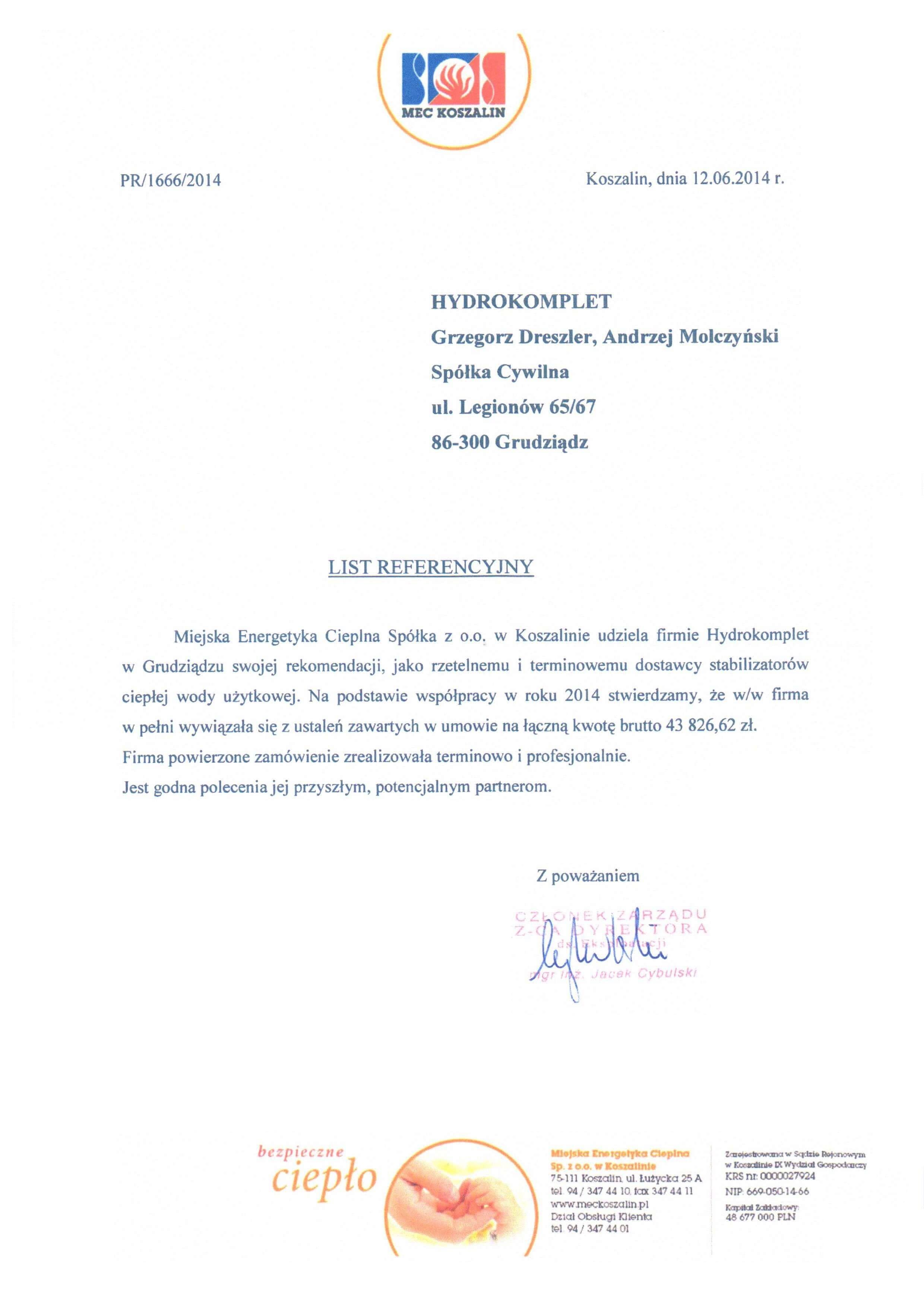 Referencje MEC Koszalin
