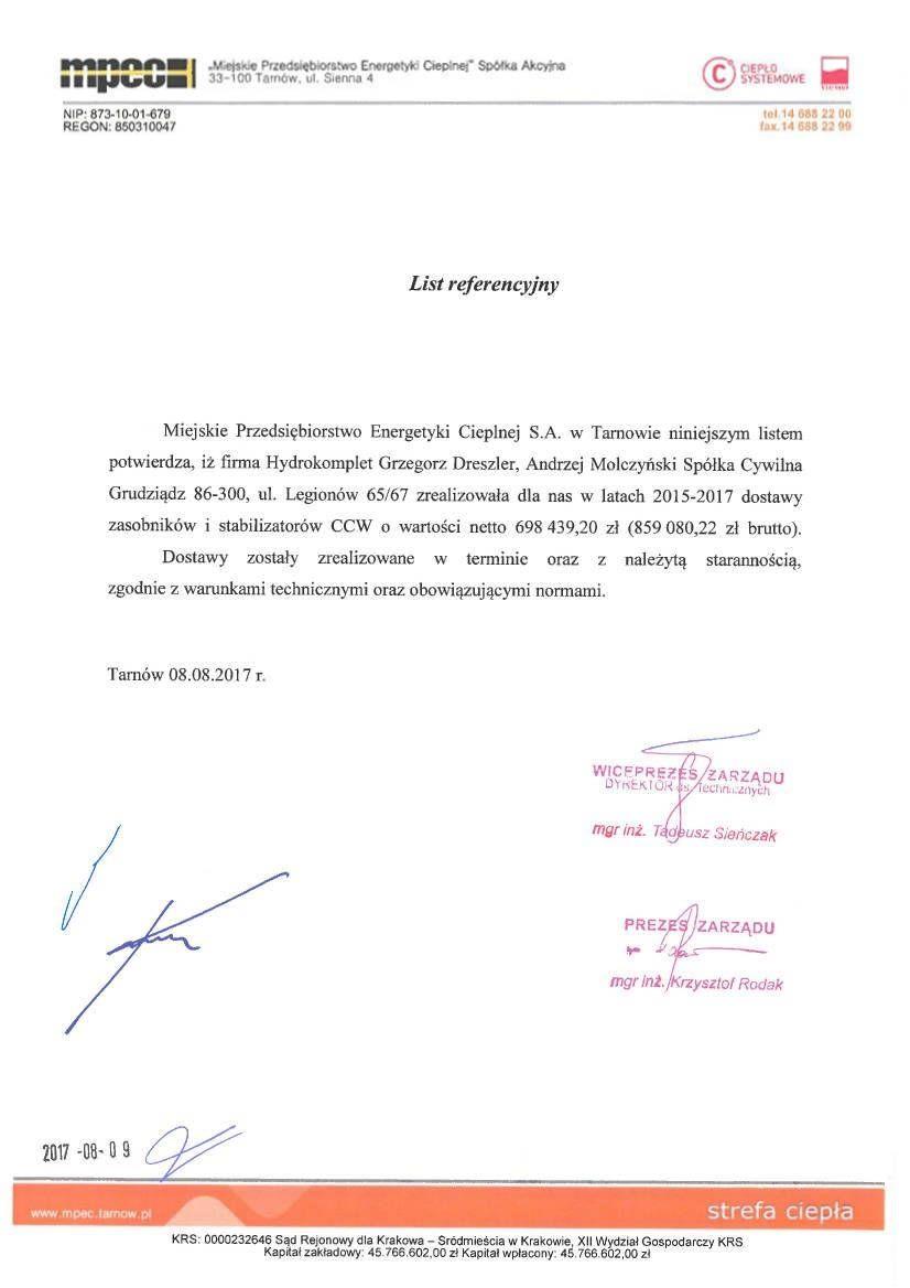 Referencje MPEC Tarnów